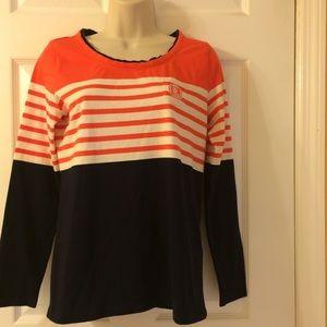 Lauren Active Wear Orange Beige Stripe Top Sz M